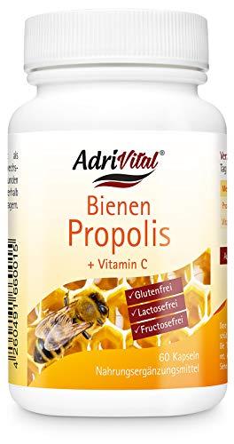 AdriVital Propolis Kapseln hochdosiert aus natürlichem Propolis Extrakt und Vitamin C - 60 Kapseln für 30 Tage - vegetarische Kapseln - natürliches Bienenharz - deutsche Qualität