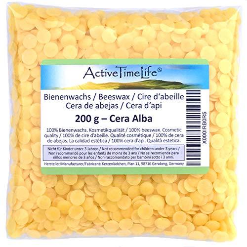ActiveTimeLife® Bienenwachs Pastillen gelb 200 g | Premium | 100% Natur perfekt für Kosmetik Kerzen Cremes Salben Seifen Wachstücher