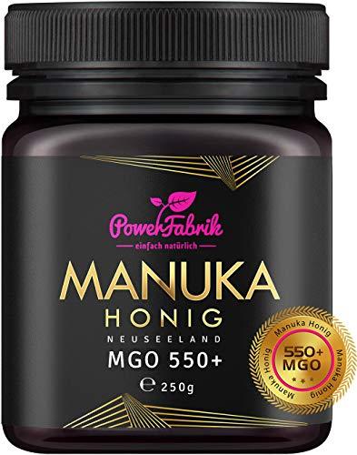 Manuka Honig   MGO 550+ (UMF 15+)   250g   Das ORIGINAL aus NEUSEELAND   HOCHAKTIV, PUR, ROH & ZERTIFIZIERT   Premium Qualität 100% natürlich   PowerFabrik