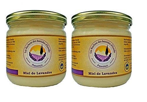 Les Ruchers des bastides d'Estelle - 2 x 500 g Lavendelhonig aus der Provence (Miel de Lavande de Provence), cremig und aromatisch