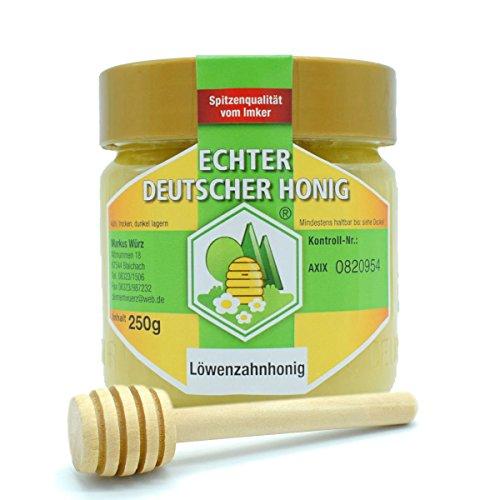 Echter Deutscher Honig | Löwenzahnhonig | inkl. Honiglöffel aus Naturholz 8 cm | Hergestellt in Deutschland 250 g
